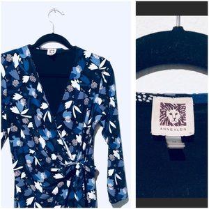 🦋 Ann Klein Multi-Blue Floral Faux Wrap Dress